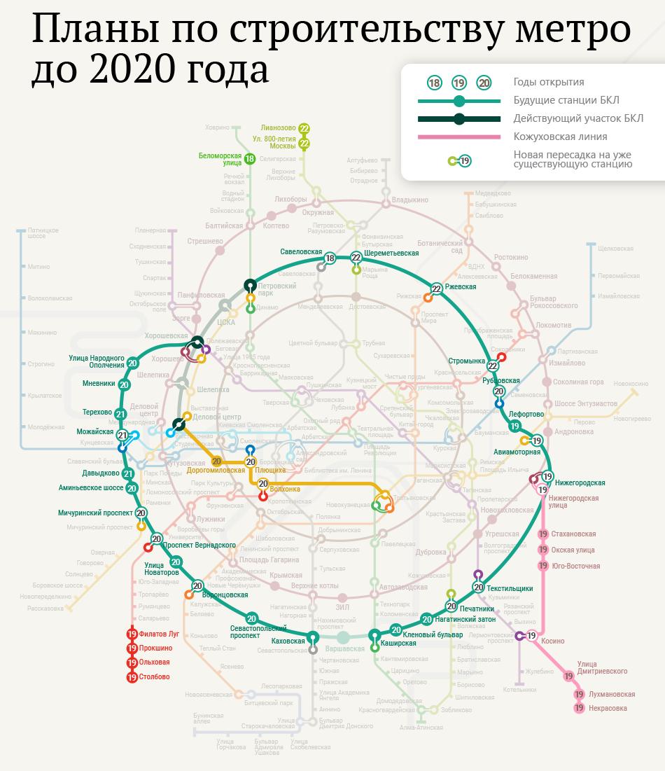 Карта метро Москвы в 2020 году