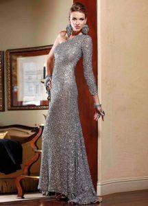 Серое блестящее платье 2020 года