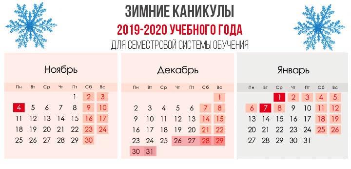 Зимние каникулы 2019-2020 учебного года