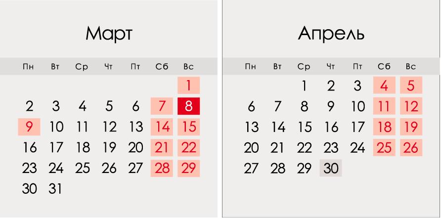 Календарь на март и апрель 2020 года