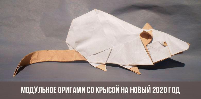 Модульное оригами с крысой на 2020 год