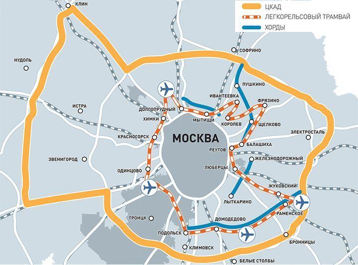 Схема наземного метро Подмосковья