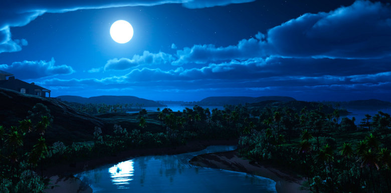 полная луна в небе