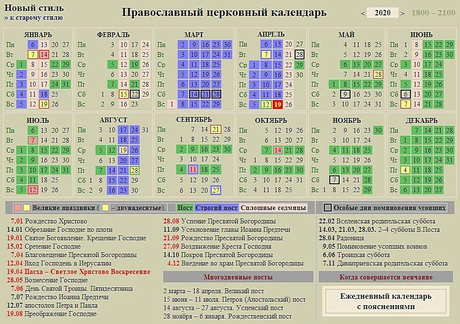Православный календарь на 2020 год