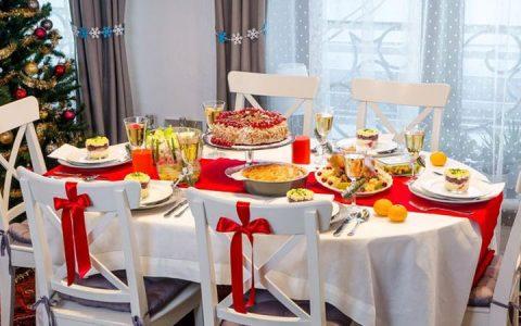 Новогодний стол в красных тонах на 2020 год