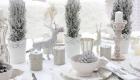 Декор для новогоднего стола в белых тонах