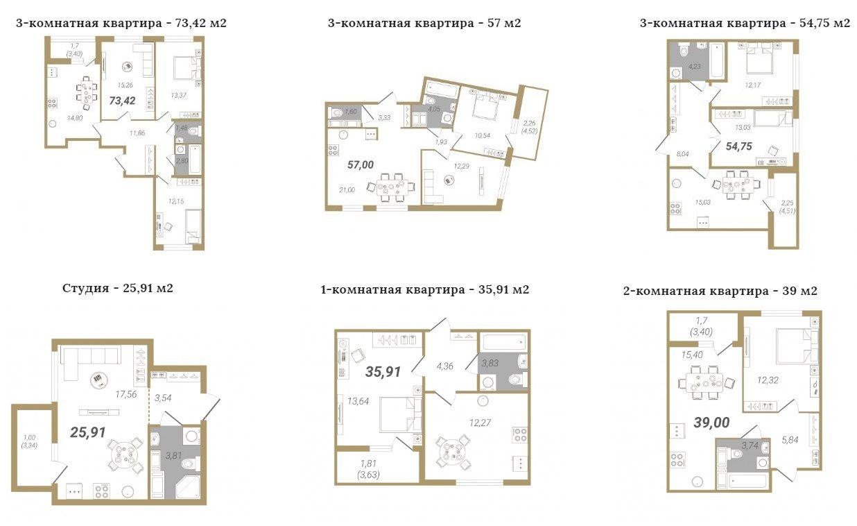 Планировка квартир в ЖК Мурино 2020