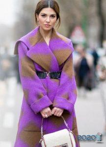 Модное женское пальто в сиреневых оттенках 2019-2020