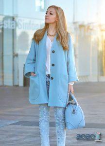 Модное голубое пальто 2019-2020