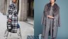 Модное пальто в серую клетку 2019-2020 года