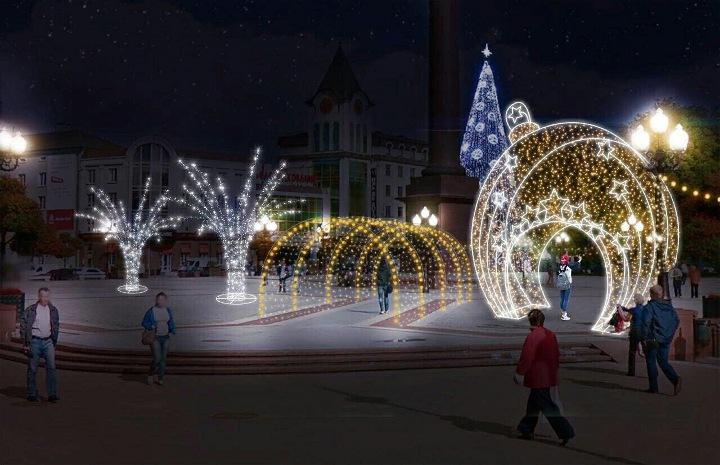 новогодние декорации на улицах калининграда