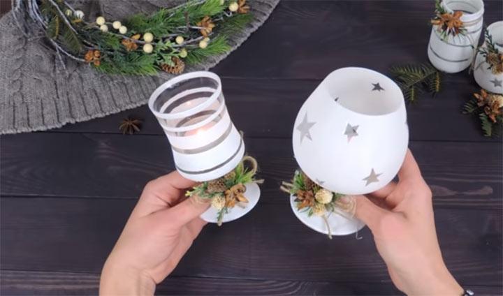 Оригинальный декор новогодних бокалов своими руками