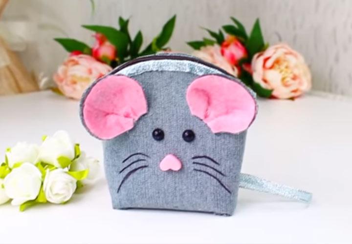 Кошелек в виде мышки своими руками