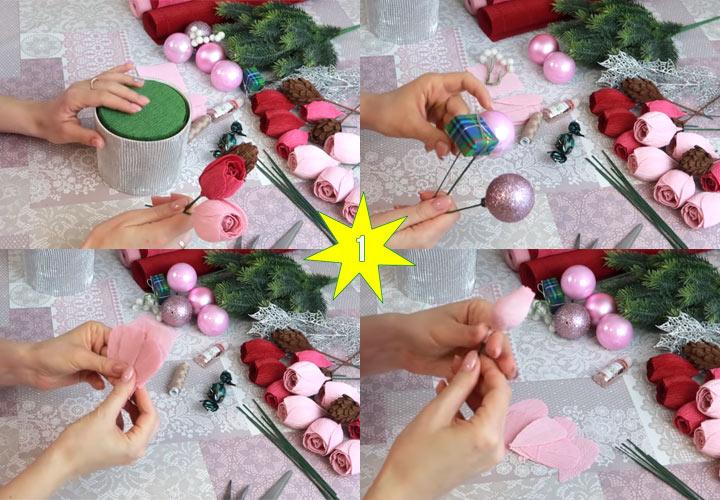 Как сделать красивый новогодний букет этап 1