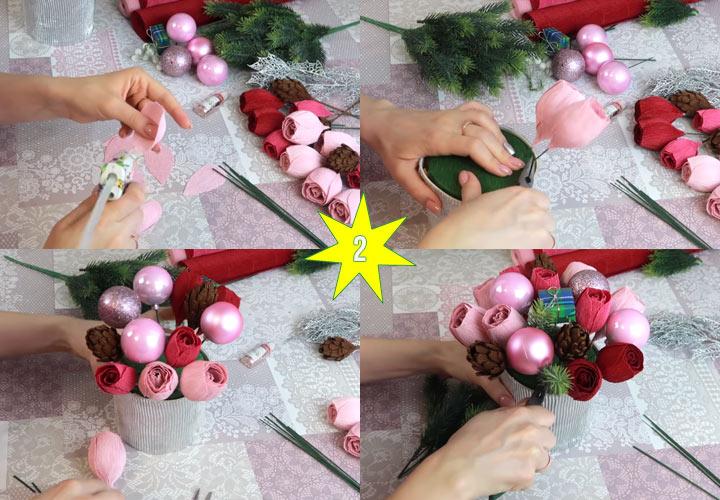 Как сделать красивый новогодний букет этап 2