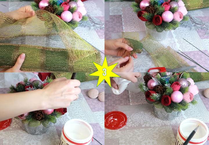 Как сделать красивый новогодний букет этап 3