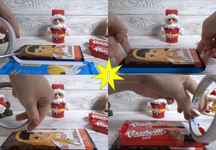 Новогодние сани из конфет своими руками этап 1