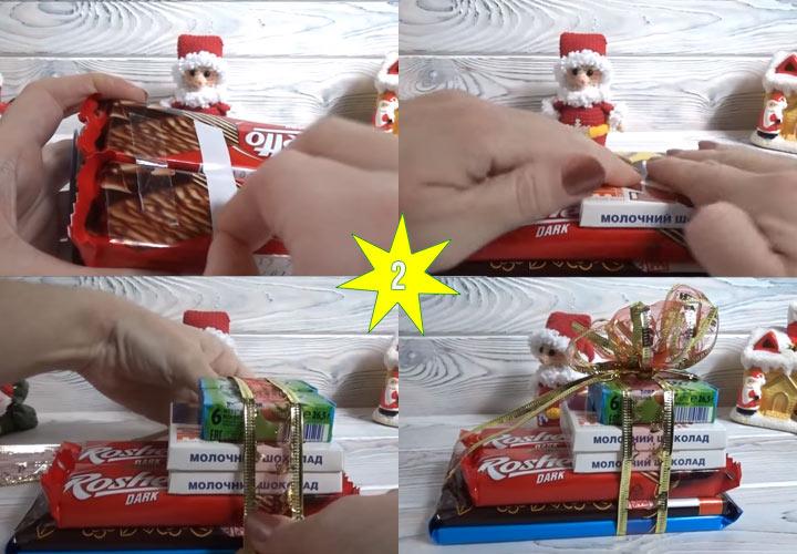 Новогодние сани из конфет своими руками этап 2