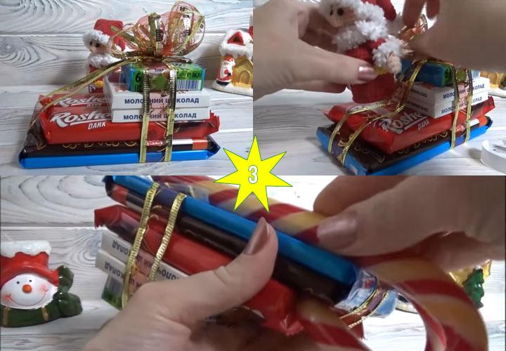Новогодние сани из конфет своими руками этап 3