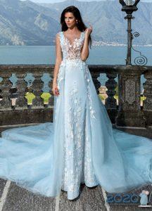 Длинное свадебное платье 2020 с оттенком