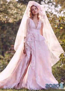 Розовое свадебное платье 2020 года