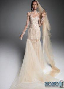 Кремовое свадебное платье 2020 года
