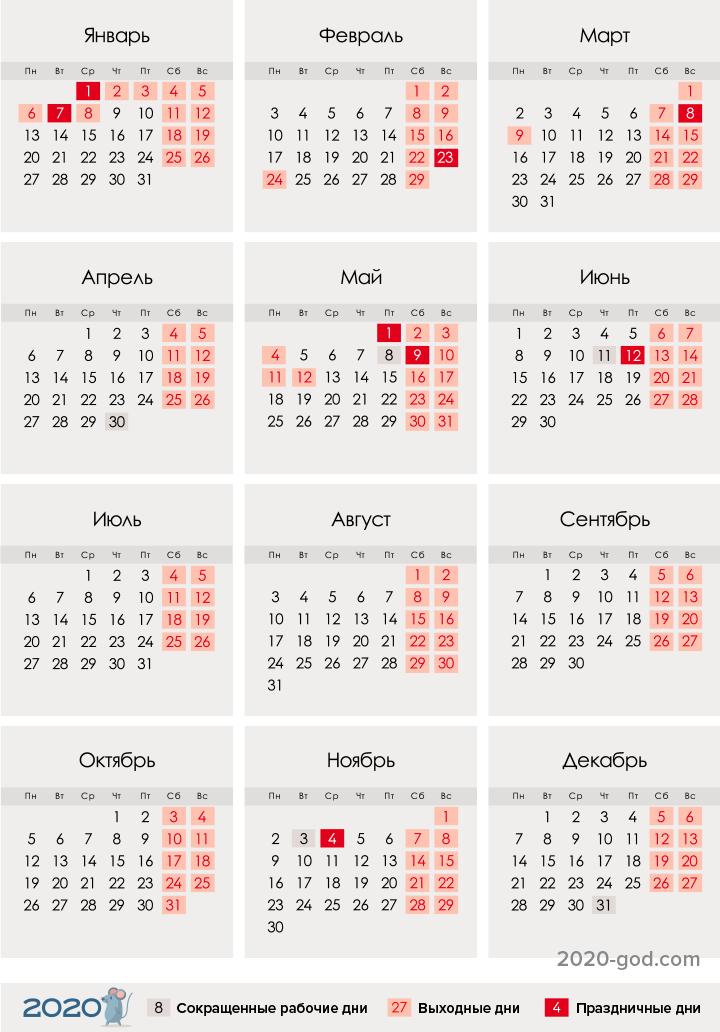 Календарь на 2020 год праздники и выходные