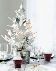 Маленькая креативная елка в белом цвете на 2020 год