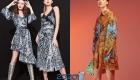 Коктейльное платье с модным принтом зима 2019-2020