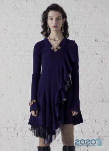 Коктейльное платье в воланом мода 2020 года