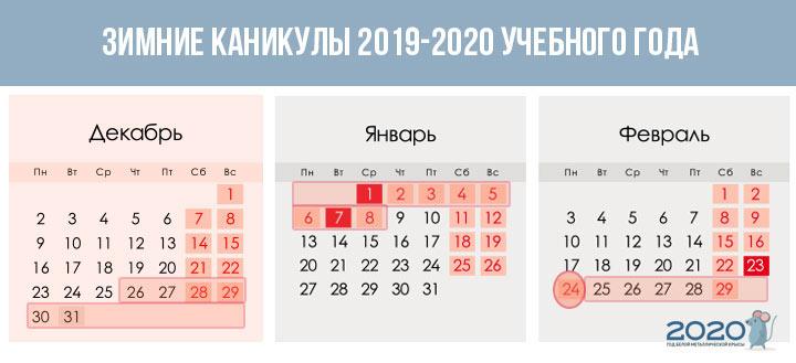 Зимние каникулы при четвертях 2019-2020 учебный год
