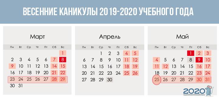 Весенние каникулы 2019-2020 учебного года