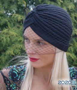 Шляпа-тюрбан с вуалью