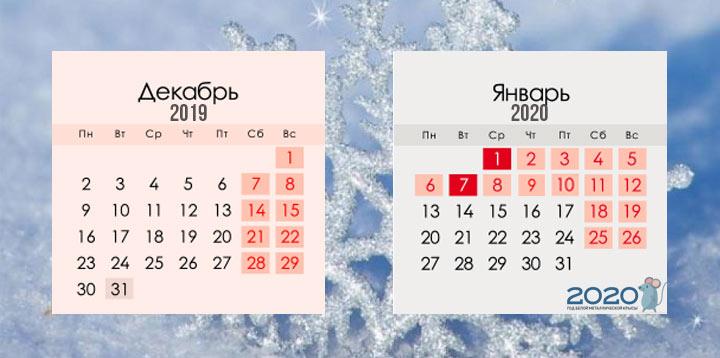 Возможный график новогодних каникул 2020 года
