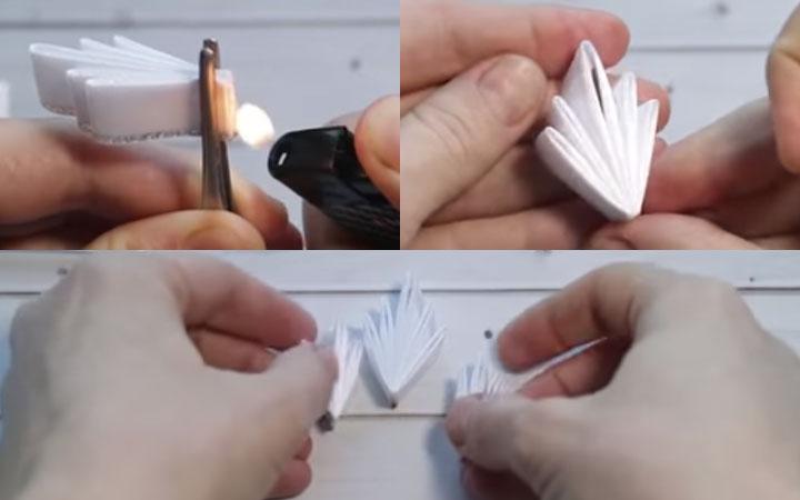 Снежинка канзаши пошаговая инструкция этап 4