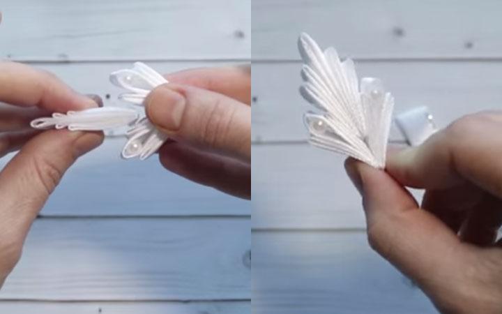 Снежинка канзаши пошаговая инструкция этап 5