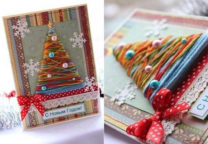 Новогодние открытки из атласных лент