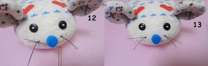 Мышка из носка пошаговая инструкция шаг 12 и 13