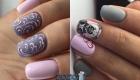 Новогодний дизайн ногтей  в серо-розовой гамме  2020