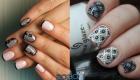 Ажурный дизайн ногтей в черное-белой гамме на 2020 год