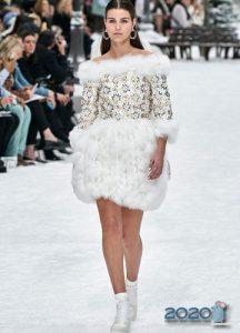 Платье с меховой юбкой Шанель осень-зима 2019-2020