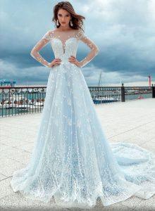 Голубое свадебное платье 2020 года