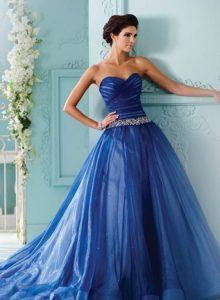 Синее свадебное платье 2020 года