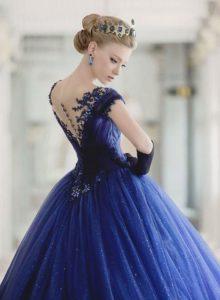 роскошное свадебное платье 2020 года классического синего цвета
