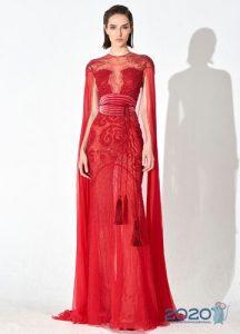 Красное платье с необычными рукавами мода 2020 года