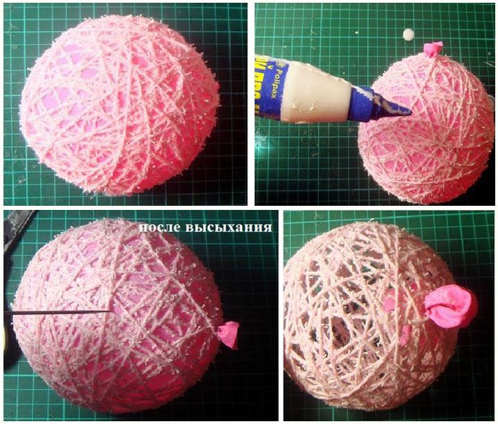 Изготовление нитяного шара пошаговая инструкция в фото