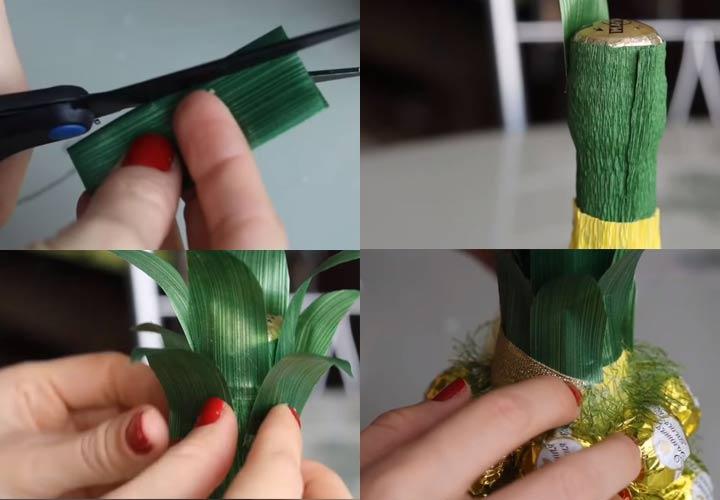 Как сделать ананас из шампанского инструкция шаг 4