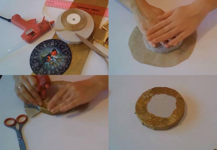 Новогодние часы из конфет пошаговая инструкция шаг 1