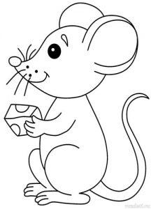 Раскраска мышка и сыр