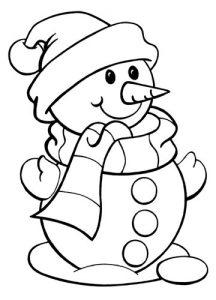 Раскраска для малышей на 2020 год - снеговик